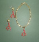 Sharon.Gold-ceramic-bead-and-red-coral-charm-necklace-and-earrings.-set-30